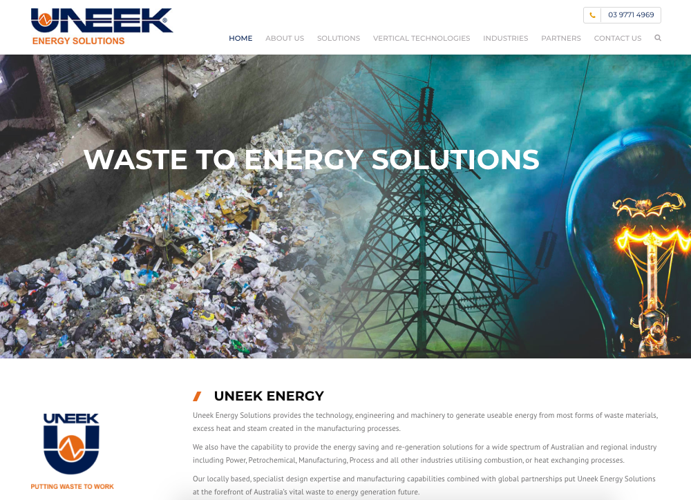 Uneek Energy Website Design Manufacturing