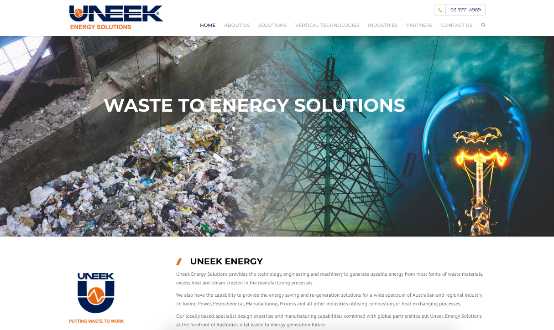 Uneek Energy Website Design Manufacturing